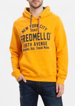 Худи Fred Mello желтого цвета с логотипом, фото