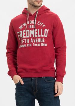 Худи Fred Mello красного цвета с логотипом, фото