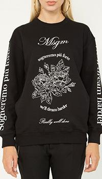 Черный свитшот MSGM с белым принтом, фото