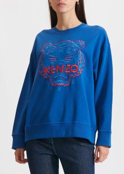 Синий свитшот Kenzo с вышивкой-тигром, фото