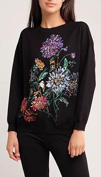 Черный свитшот Twin-Set с цветочной вышивкой, фото