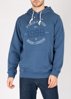 Синяя толстовка Fynch-Hatton с капюшоном и принтом, фото
