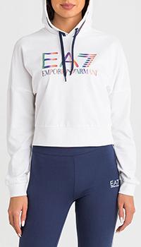 Толстовка Ea7 Emporio Armani с принтом белого цвета, фото