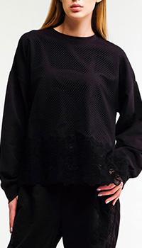 Черный свитшот Ermanno Scervino с кружевными вставками, фото