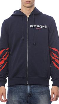 Синяя толстовка Roberto Cavalli с принтом на спине, фото
