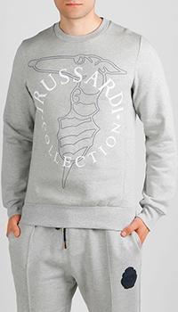 Свитшот серого цвета Trussardi Jeans с принтом, фото