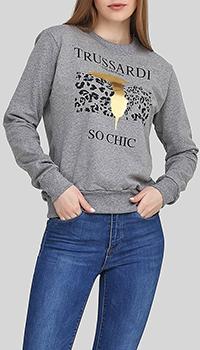 Серый свитшот Trussardi Collection с фирменным принтом, фото