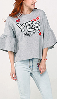 Серый свитшот Blugirl Blumarine с рукавом до локтя, фото