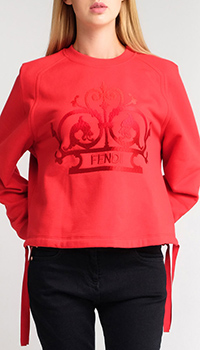 Красный свитшот Fendi с вышивкой, фото