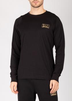 Свитшот из хлопка Ea7 Emporio Armani черного цвета, фото