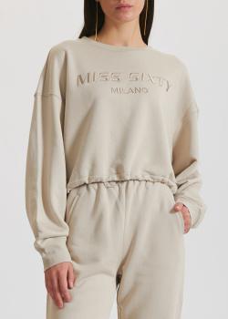 Бежевый свитшот Miss Sixty с фирменной вышивкой, фото