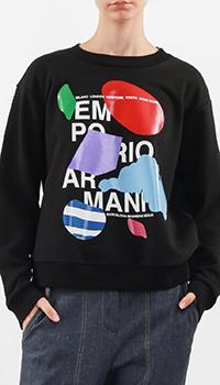 Черный свитшот Emporio Armani с ярким принтом, фото