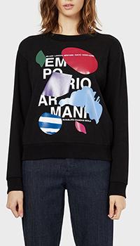 Черный свитшот Emporio Armani с принтом, фото
