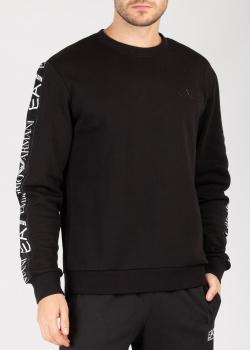 Черный свитшот Ea7 Emporio Armani с фирменными лампасами, фото