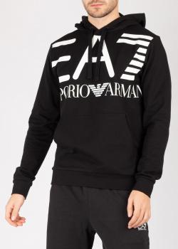 Худи с принтом Ea7 Emporio Armani черного цвета, фото
