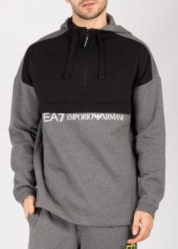 Серая толстовка Ea7 Emporio Armani с принтом на спине, фото