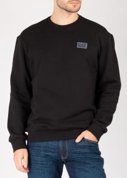 Черный свитшот Ea7 Emporio Armani с брендовой нашивкой, фото