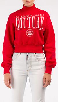 Красный свитшот Versace Jeans Couture с высоким воротом, фото