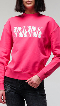 Толстовка Calvin Klein розового цвета с брендовым логотипом, фото