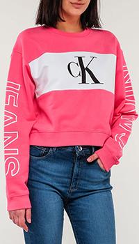 Розовый свитшот Calvin Klein с брендовыми логотипом, фото