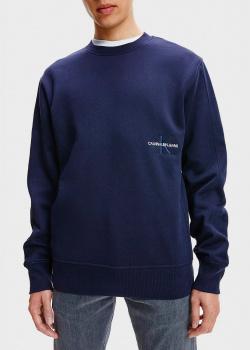 Синий свитшот Calvin Klein с вышивкой-логотипом, фото