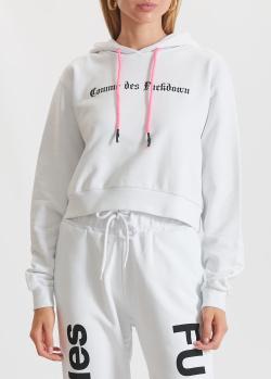 Укороченное худи Comme des Fuckdown белого цвета, фото