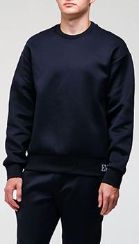 Синий свитшот Emporio Armani с брендовой вышивкой, фото