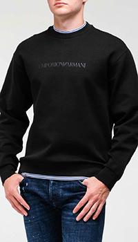 Черный свитшот Emporio Armani с полосатыми вставками, фото