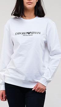 Хлопковый свитшот Emporio Armani в белом цвете, фото