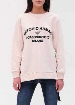 Розовый свитшот Emporio Armani с брендовой надписью, фото