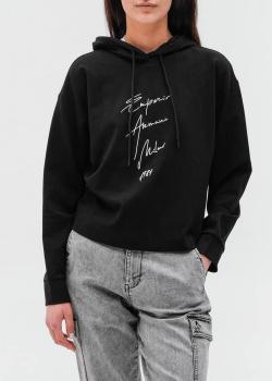 Черное худи Emporio Armani с брендовой надписью, фото
