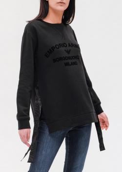 Черный свитшот Emporio Armani с разрезами, фото