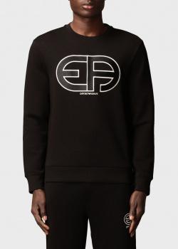 Черный свитшот Emporio Armani с фирменным принтом, фото