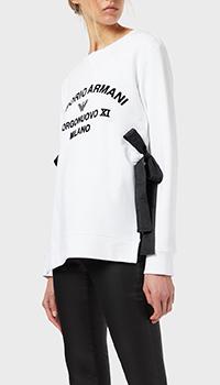 Белый свитшот Emporio Armani с завязками, фото