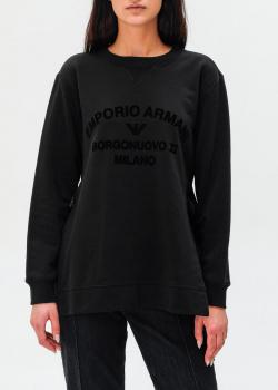 Черный свитшот Emporio Armani с фирменной надписью, фото