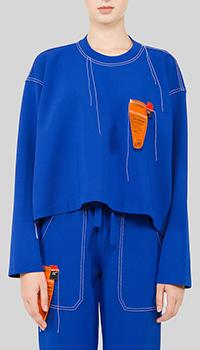 Синий свитшот MRZ с декором-строчкой, фото