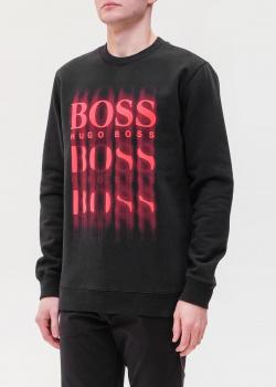 Черный свитшот Hugo Boss с размытым принтом логотипа, фото