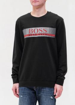 Черный свитшот Hugo Boss с брендовым принтом, фото