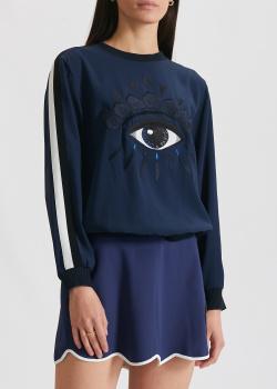 Синий свитшот Kenzo с вышивкой в форме глаза, фото