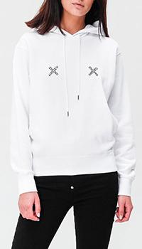 Белое худи Kenzo с брендовым принтом, фото