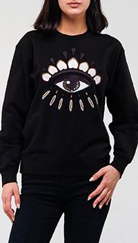 Черный свитшот Kenzo с вышивкой, фото