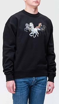 Черный свитшот Kenzo с рисунком лошадей, фото