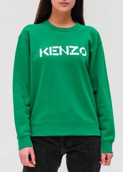 Зеленый свитшот Kenzo с брендовой надписью, фото