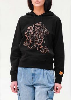 Худи из хлопка Kenzo черного цвета с принтом, фото