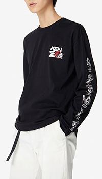 Черный свитшот Kenzo Kung Fu Rat с принтом на рукавах, фото