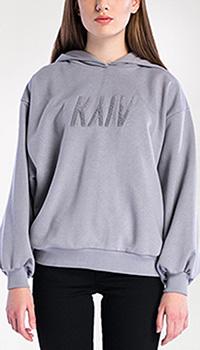 Серый свитшот Etnodim Kyiv grey с капюшоном, фото