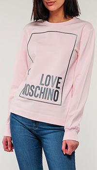Розовый свитшот Love Moschino с надписью, фото