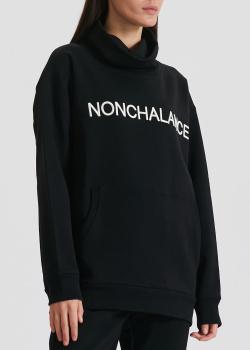 Черное худи N21 с высоким воротником, фото