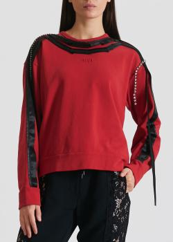 Красный свитшот N21 с черными вставками, фото