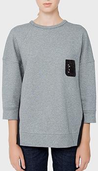 Свободный свитшот N21 серого цвета, фото